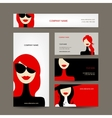 Business cards design with women faces vector image vector image