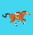 jockey riding race horse number 4 vector image