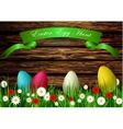 Easter egg hunt with Wood texture vector image