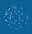 brake disc icon on blueprin vector image
