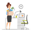 business woman holding cardboard box vector image