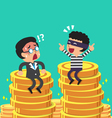 Cartoon businessman and thief with money coins vector image