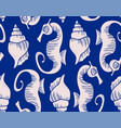 seahorse and conch shell pattern vector image