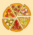 six pieces of delicious pizza vector image