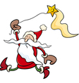 santa with star cartoon vector image