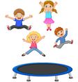 Cartoon little kid playing trampoline vector image
