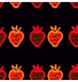 Seamless pattern of colored strawberries painted vector image