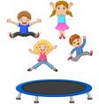 Cartoon little kid playing trampoline vector image