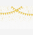 golden flags with confetti background vector image