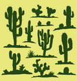 set of green cacti vector image