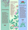Set of vertical banners with floral elements and vector image