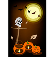 Jack-o-Lantern Pumpkins with Wooden Cross on Night vector image vector image