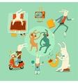 Set of funny cartoon rabbits vector image