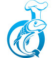 The sign of the fish in a chef hat vector image vector image