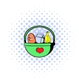 Basket with food icon comics style vector image