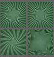 Dark green spiral and ray burst background set vector image