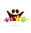 Family with four kids vector image