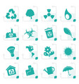 stylized simple ecology and recycling icons vector image