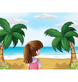 A young lady watching the calm blue sea vector image vector image