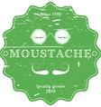 Moustache green vintage emblem - retro grunge vector image