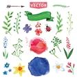 Watercolor floral decor branchesflowers set vector image