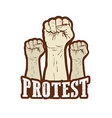 raised fist held in protest vector image