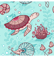 marine seamless pattern with turtle vector image