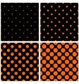 Orange polka dots on black background set vector image