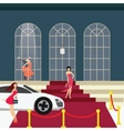 red carpet girl from car glamour party vector image