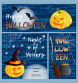 set of three halloween banners and cards vector image