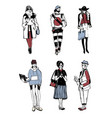 set of stylish people with gadgets at street vector image