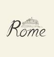 rome city background landmark lettering travel vector image