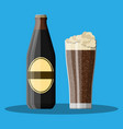 bottle of dark stout beer with glass vector image