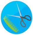 Comb and scissor icon flat vector image
