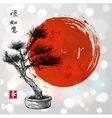 Bonsai pine tree hand drawn with ink vector image