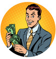 businessman counts money pop art avatar character vector image
