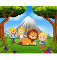 young girl and boy posing with lion vector image