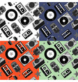 seamless music pattern with audio equipment vector image