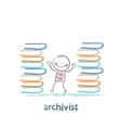 archivist standing near piles of books vector image vector image