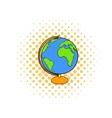 Globe icon in comics style vector image