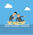 business people are swimming on a boat vector image