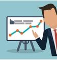 businessman presentation board chart graph vector image