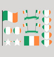 ireland flag set collection of symbols heart vector image