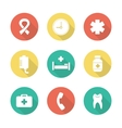 Medical flat design icons set vector image