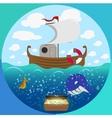 Sea theme circle set vector image