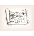 Treasure map sketch style vector image