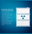 radioactive waste in barrel flat icon on blue vector image