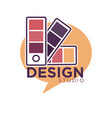 art design studio emblem with color palettes vector image