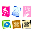 Icons with flowers and butterflies vector image vector image