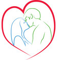 Kiss of man and woman vector image